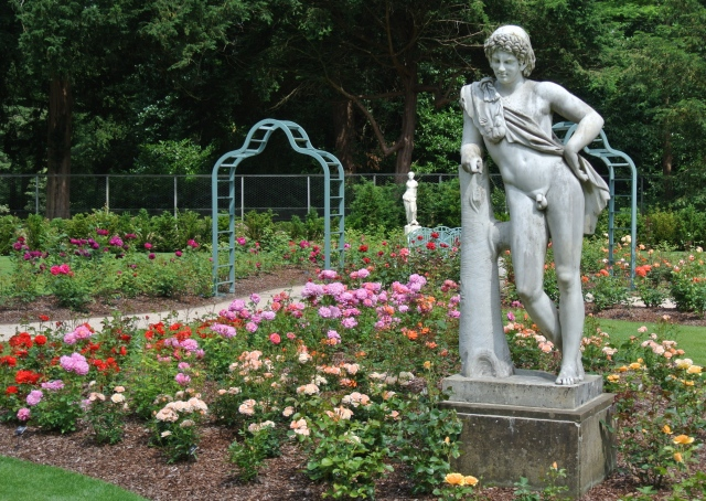A resting Satyr leans on a stump amidst the 9,000 blooms in the restored Rose Garden at Cliveden