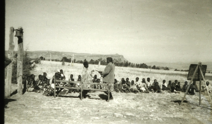 Basutho school children in their outdoor classroom; Lesotho
