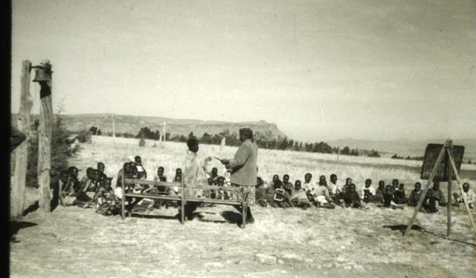 Basutho school children in their outdoor classroom; Lesotho