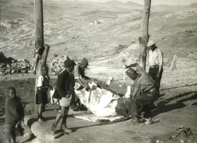 A butcher at work; Lesotho