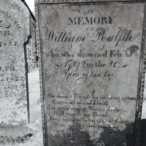 In memory of William Ralph who drowned 6th 1792 in the 21st year of his life.