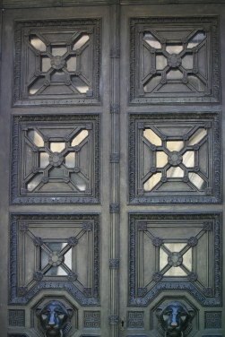 The doors to the cemetery's most impressive monument, to his daughter Ada Beer.