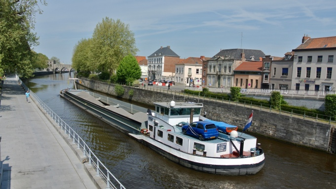 A barge on the River Escaut in Tournai
